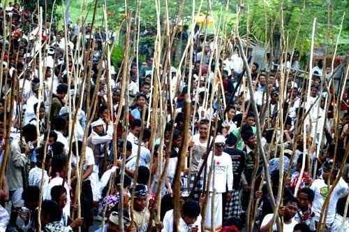 Perang Kayu di Desa Munggu, Bali